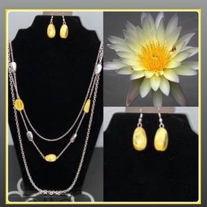 Vacay Mode Yellow Necklace & Earring Set, $5.
